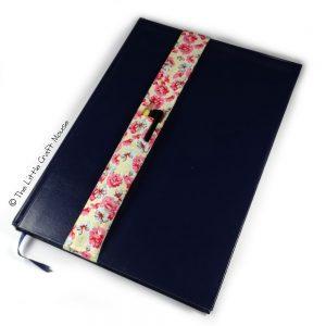 A4 Notebook Bookmark Pink Blue Flowers
